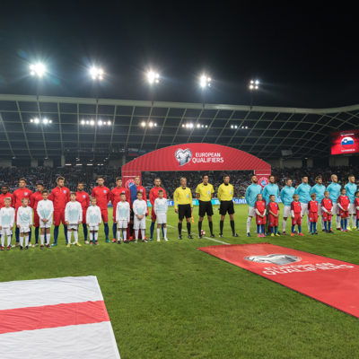 England and Slovenian football team before the FIFA 2018 World Cup Qualifying Group F match Slovenia and England played at Stadium Stozice, Ljubljana on 11th October 2016