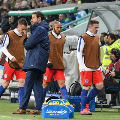 England Manager Gareth Southgate (caretaker) and substitutes during the FIFA World Cup Group F Qualifier match between Slovenia and England at Stadion Stozice, Ljubljana 11 Oct 2016