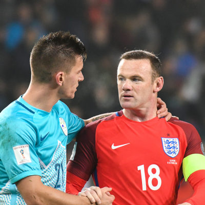 Benjamin Verbic of Slovenia and Wayne Rooney of Enland after the FIFA 2018 World Cup Qualifying Group F match Slovenia and England played at Stadium Stozice, Ljubljana on 11th October 2016