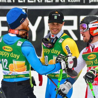 Winners of the Man`s Giant Slalom Race of the Alpine Skiing World Cup in Kranjska Gora - Slovenia - 4 March 2017