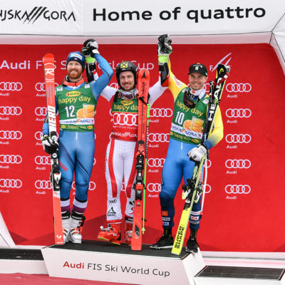 Winners Marcel Hirscher of Austria, Leif Kristian Haugen of Norway and Matts Olsson of Sweden  of the Man`s Giant Slalom Race of the Alpine Skiing World Cup in Kranjska Gora - Slovenia - 4 March 2017