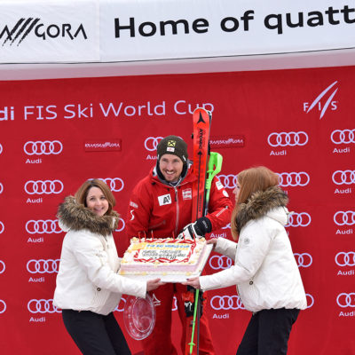 Marcel Hirscher of Austria gets the cake to be the best skier in Kranjska Gora during the Men's Slalom race at the Alpine Skiing World Cup's in Kranjska Gora, Slovenia