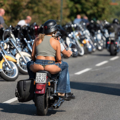 Bikers parade around lake Faaker see in Austria at Harley Davidson bikers week. European Bike Week is an annual motorcycle rally and it is one of the biggest in Europe.