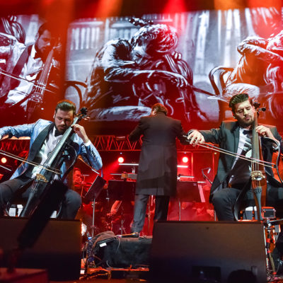 2 Cellos The Score Tour 2017 - 2 Cellos members Luka Šulić and Stjepan Hauser performing live with symphony orchestra RTV Slovenia in Arena Stožice, Ljubljana, Slovenia, 7 April 2017