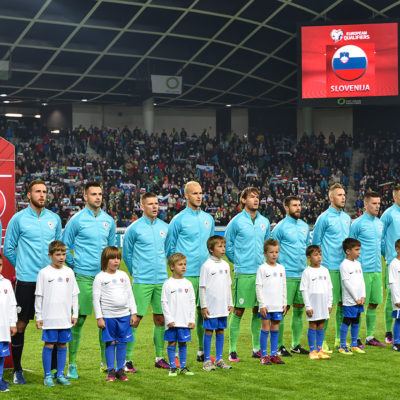 Slovenian national football team before the FIFA World Cup Group F Qualifier match between Slovenia and Slovakia at Stadion Stozice, Ljubljana 8 Oct 2016