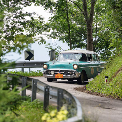 The 6th Peking (now Beijing) to Paris Motor Challenge 2016 which was first time held in 1907. Total distance of challenge is 13695 kilometers (8510 miles). Participant of the race is driving oldtimer on the Slovenian stage on alpine country road between village Drazgose and village Kropa.